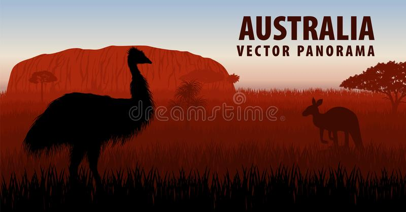Vectorpanorama van Australië met struisvogelemoe en kangoeroe royalty-vrije illustratie