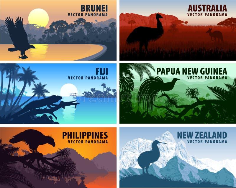 Vectorpanorama van Filippijnen, Australië, Nieuw Zeeland, Brunei Darussalam en Papoea-Nieuw-Guinea vector illustratie
