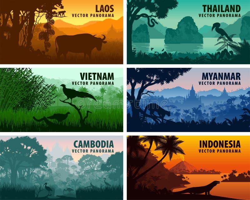 Vectorpanorama van Laos, Vietnam, Kambodja, Thailand, Myanmar, Indonesië vector illustratie