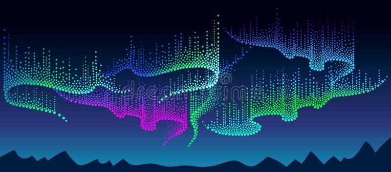 Vectorpanorama van Polaire hemel met kleuren noordelijk of polair licht Nachtlandschap met gestippelde wervelingen van Aurora bor stock afbeelding
