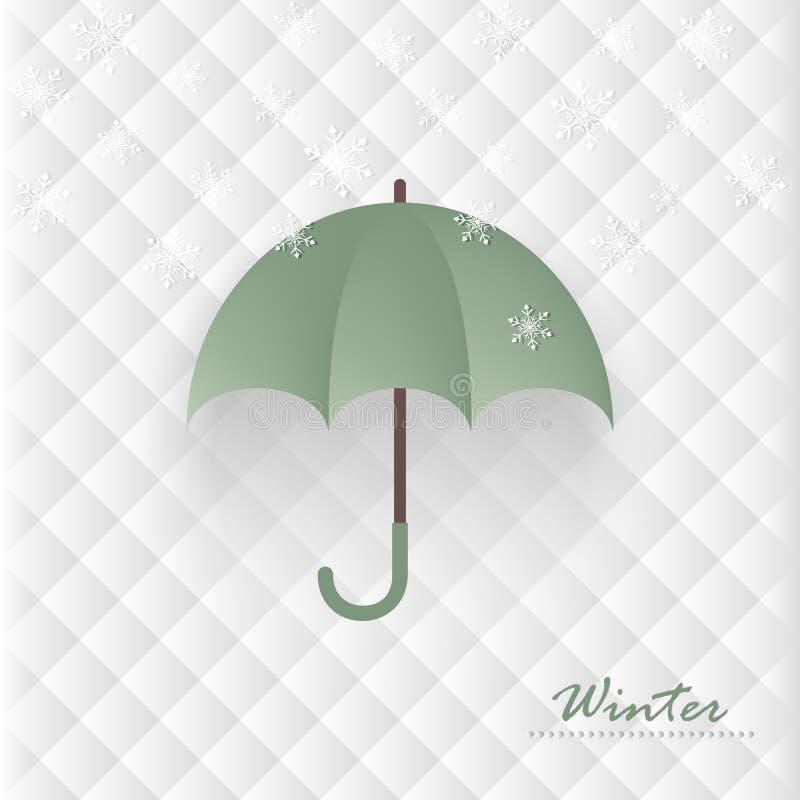 Vectorparaplu en sneeuwvlokken op witte abstracte geometrische bac vector illustratie