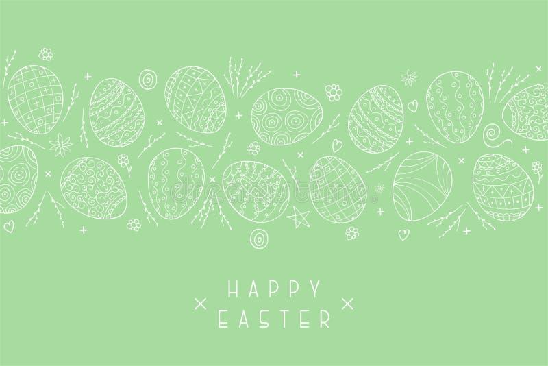 Vectorpasen-vakantie groene achtergrond met hand getrokken eieren Mooie groetkaart, prentbriefkaar, banner, affiche, brochure royalty-vrije illustratie
