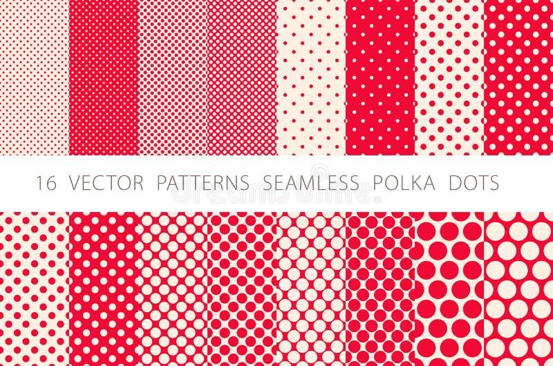 16 VECTORpatronen NAADLOZE STIPPEN geplaatst rode achtergrond vector illustratie