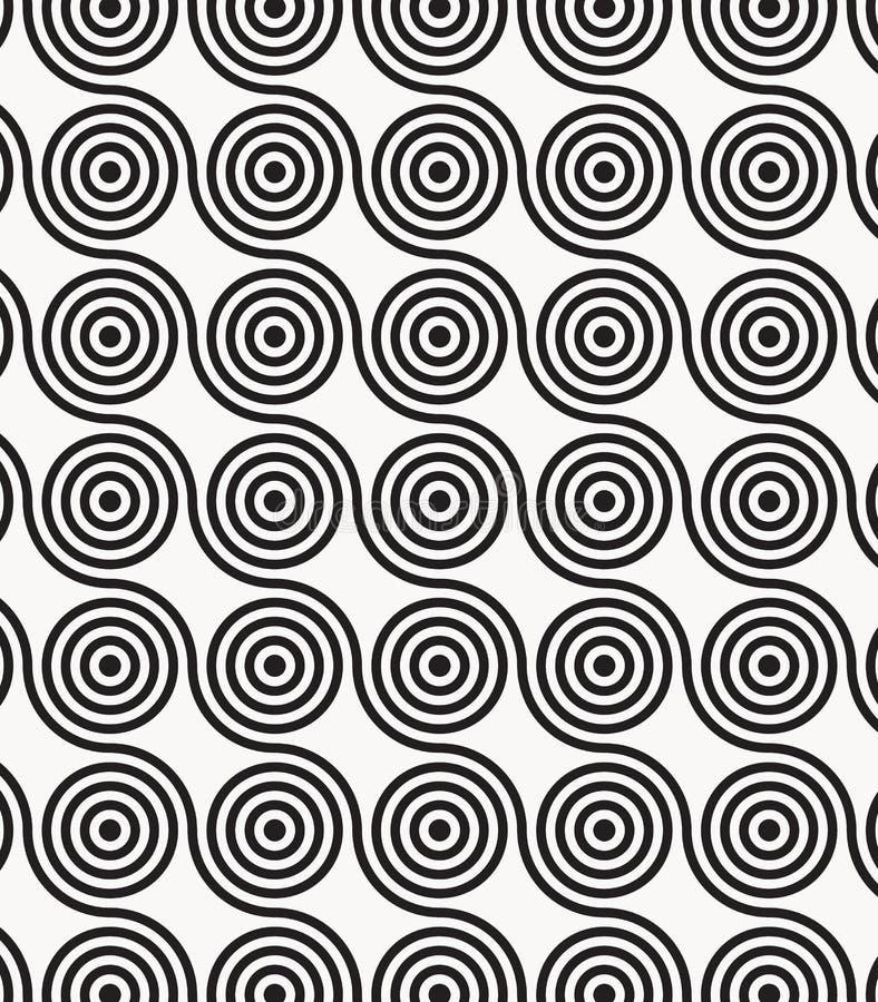 Vectorpatroon, die cirkels in golvende lijn, moderne modieuze zwart-wit herhalen stock illustratie