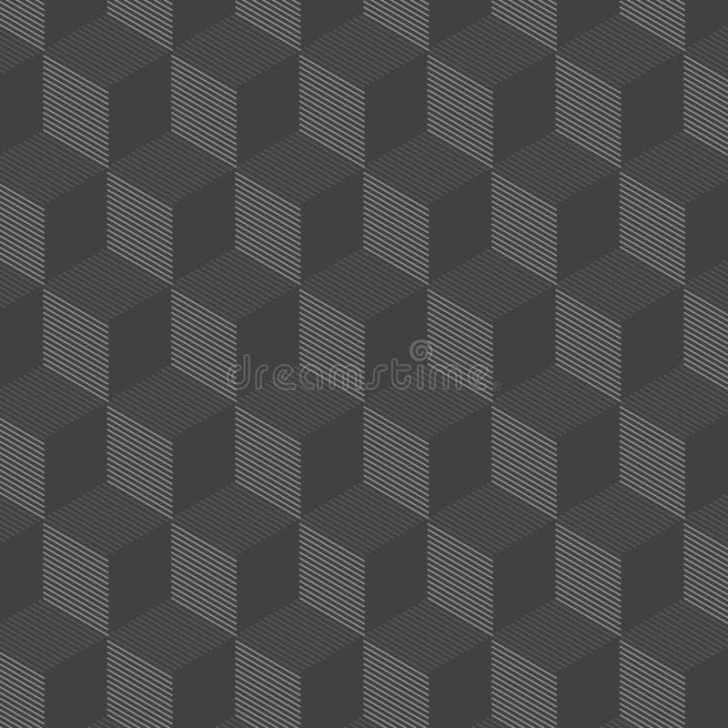 Vectorpatroon, lineaire geometrische tegels met hexagonale kubuselementen stock illustratie