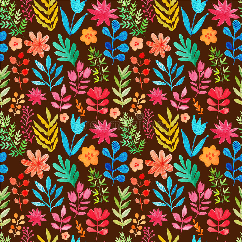 Vectorpatroon met bloemen en installaties Bloemen decor Originele bloemen naadloze achtergrond Heldere kleurenwaterverf, de herfs stock illustratie