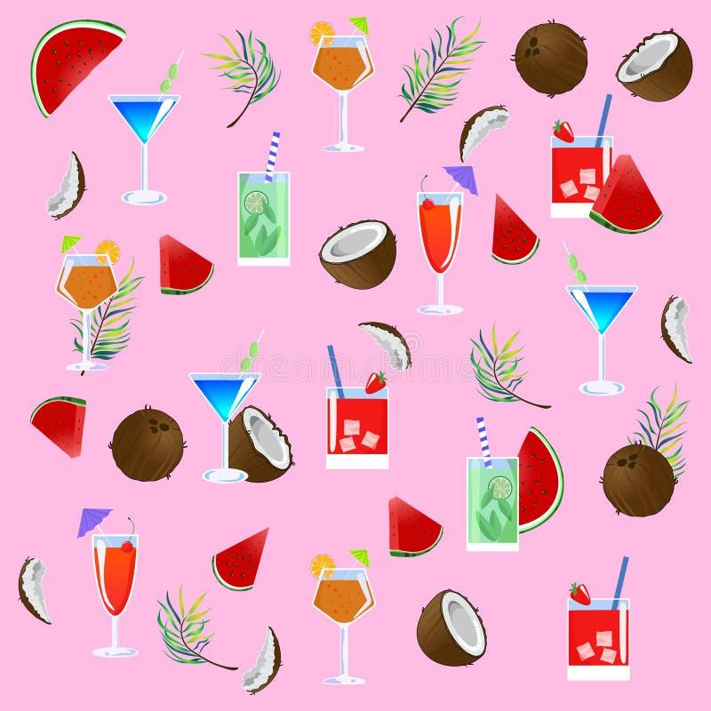 Vectorpatroon met cocktails Roze achtergrond royalty-vrije illustratie