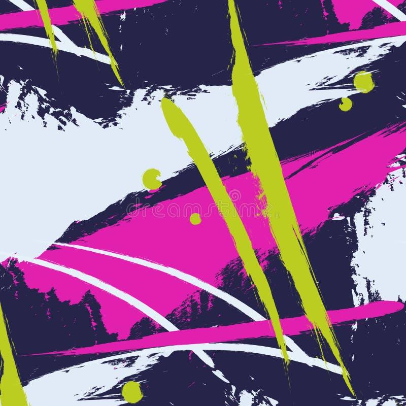 Vectorpatroon met de lijnen van de borstelslag Dynamisch de plonspatroon van de streepwaterverf De abstracte druk van kleurenboho stock illustratie