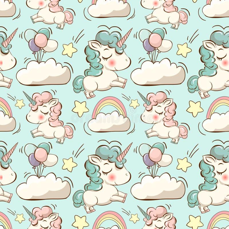 Vectorpatroon met eenhoorn, wolken en regenboog stock illustratie