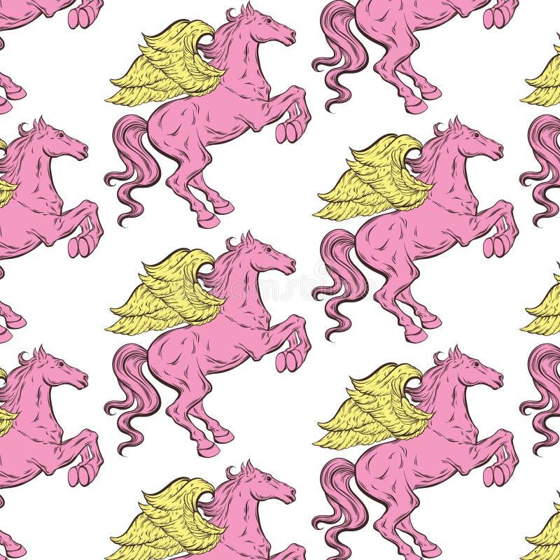 Vectorpatroon met hand getrokken geïsoleerde illustratie van Pegasus royalty-vrije illustratie
