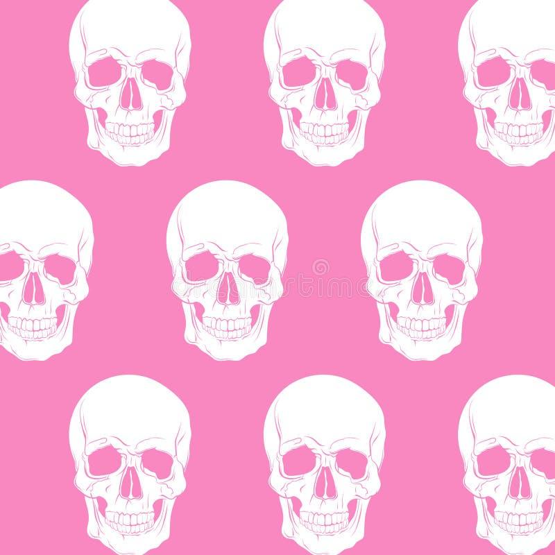Vectorpatroon met illustratie van schedel stock illustratie