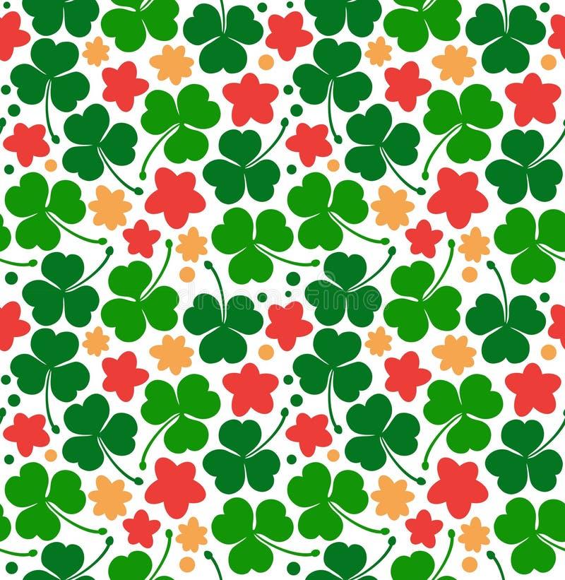 Vectorpatroon met klavers, klaver St Patrick ` s dagtextuur Decoratieve bloemenachtergrond met bloemen vector illustratie
