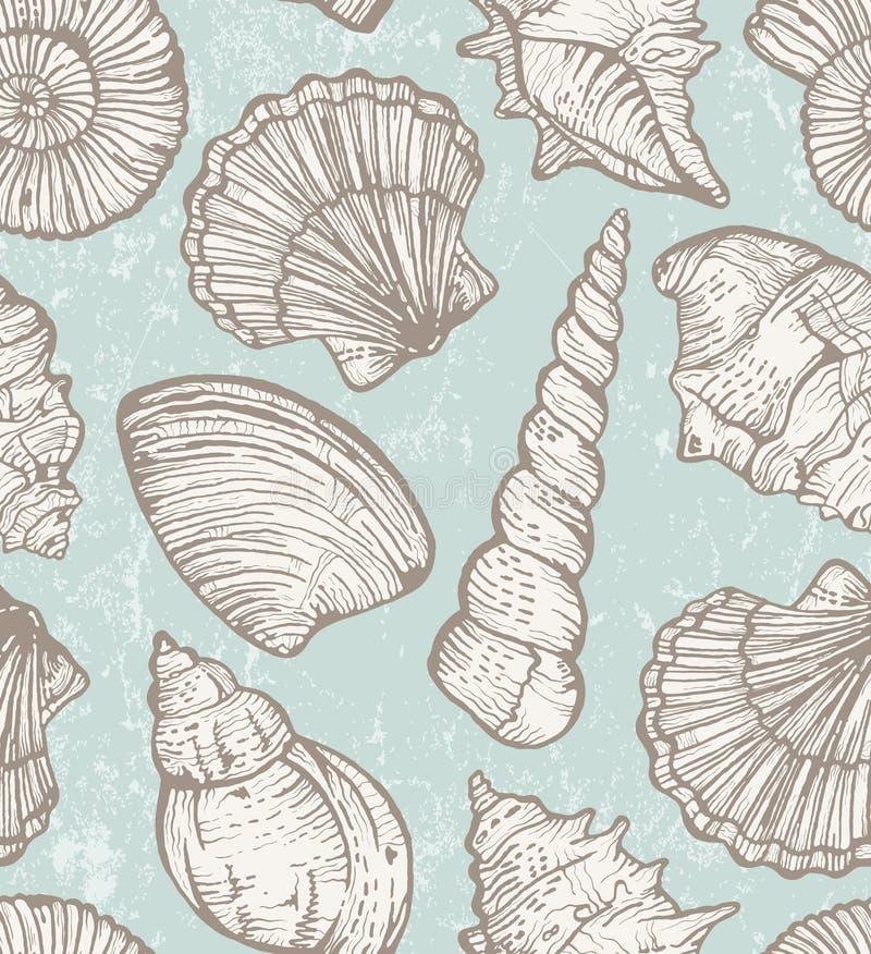 Vectorpatroon met overzeese shells vector illustratie