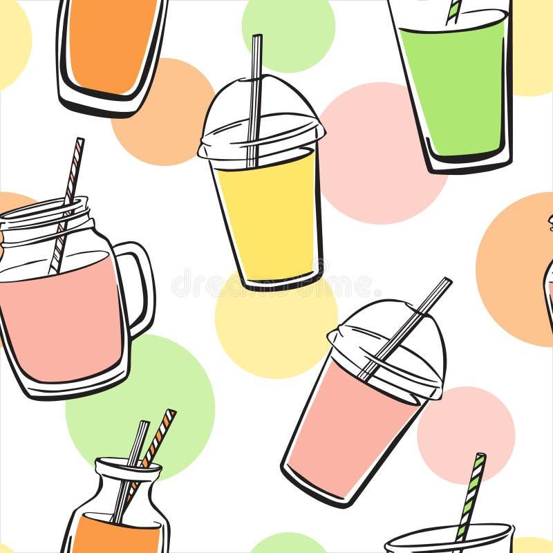 Vectorpatroon met smoothies en kleurencirkels royalty-vrije illustratie