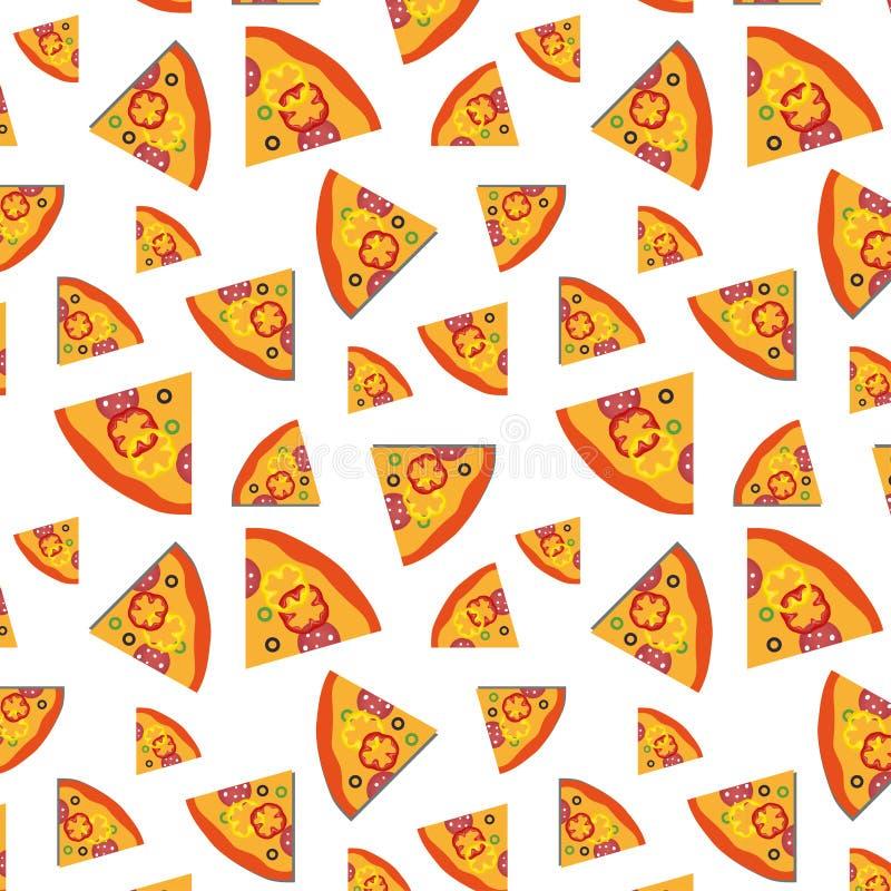 Vectorpatroon met van pizzaplakken en groenten achtergrond het ontwerp van de kunstillustratie stock illustratie