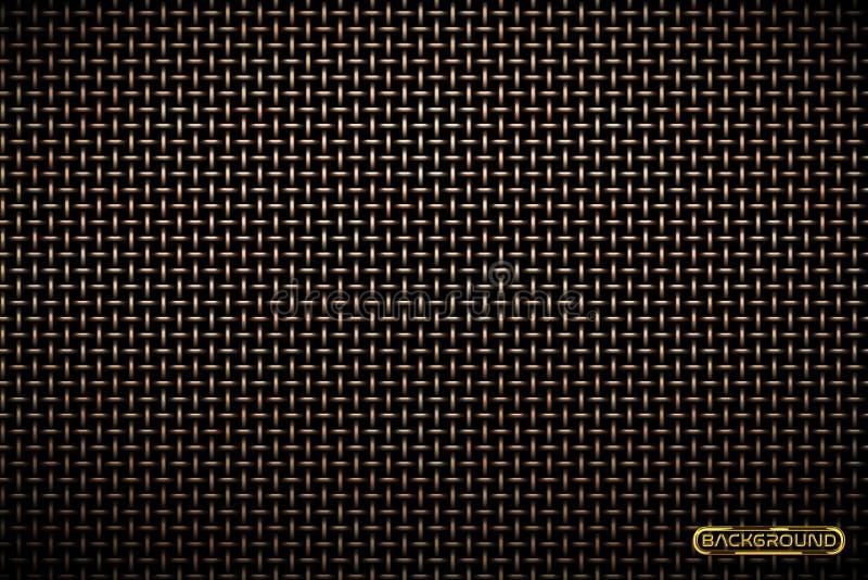 Vectorpatroon van de achtergrond van het nettechno van het messingsmetaal De industriële textuur van de ijzergrill De Web-pagina  vector illustratie
