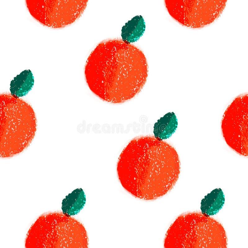 Vectorpatroon van de fruit het oranje naadloze waterverf stock illustratie