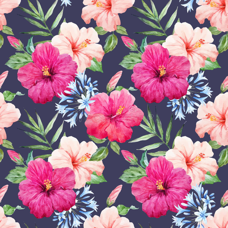 Vectorpatroon van de waterverf het tropische hibiscus royalty-vrije illustratie