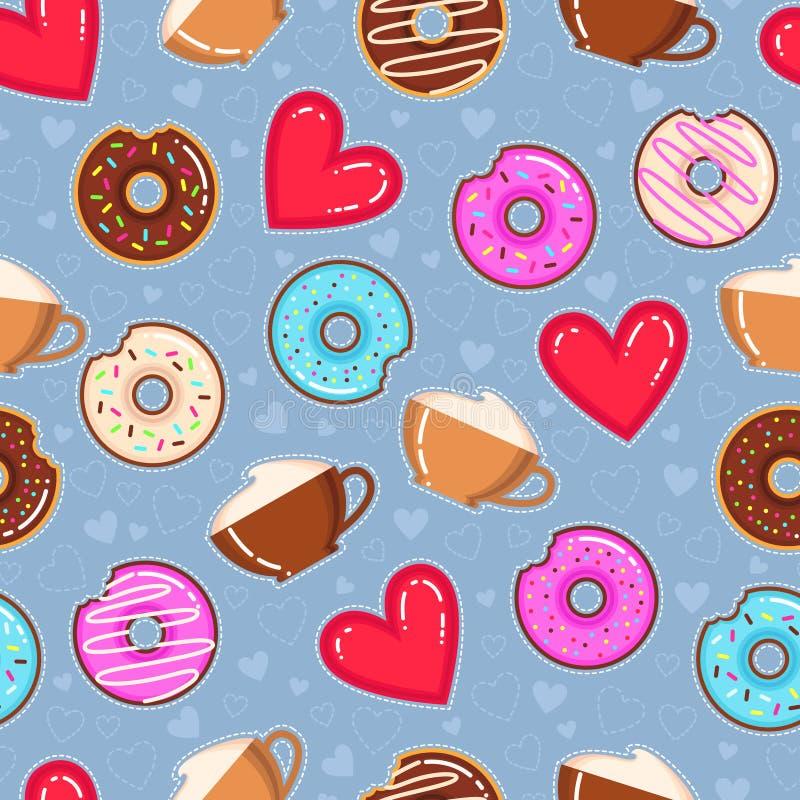 Vectorpatroon van donuts, cappuccinokoppen en rode harten stock illustratie