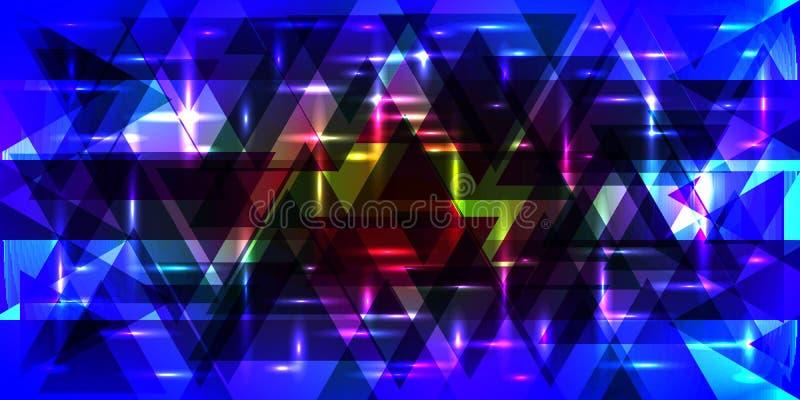 Vectorpatroon van flikkerende driehoeken in blauwe kleuren stock illustratie