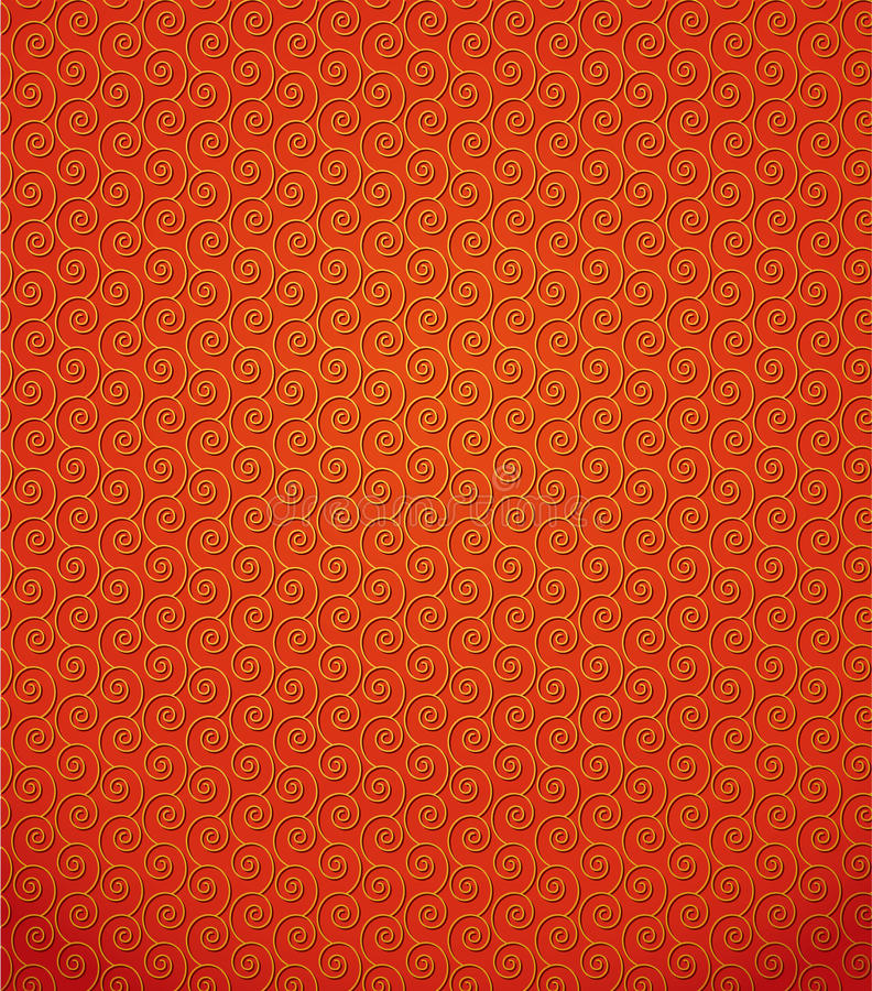 Vectorpatroon van gouden krullende spiralen stock illustratie