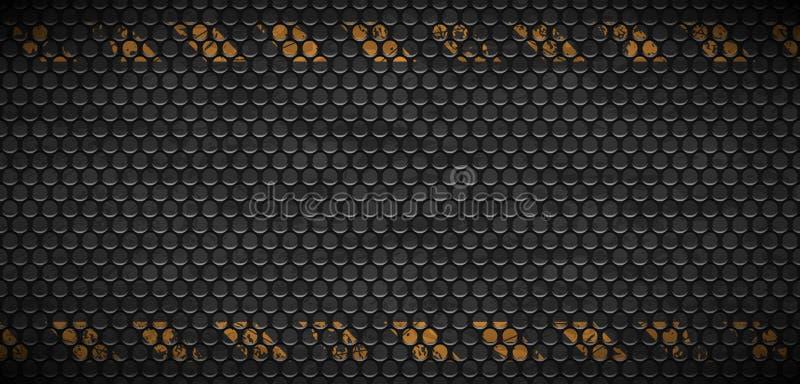 Vectorpatroon van stedelijke grungeachtergrond van het metaal roestige net De oude zwarte industriële textuur van de ijzergrill W vector illustratie