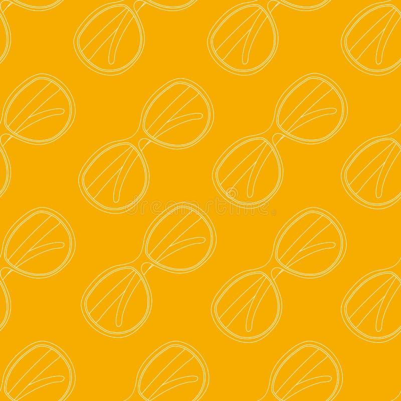 Vectorpatroon van Witte Zonnebril op Gele Dierbaar royalty-vrije illustratie