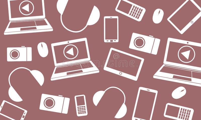 Vectorpatroon verspreide gadgets stock afbeeldingen