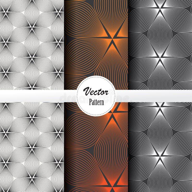 Vectorpatroonreeks van abstracte lineaire bloem die op hexagon vorm in grootte en kleuren omcirkelen royalty-vrije illustratie