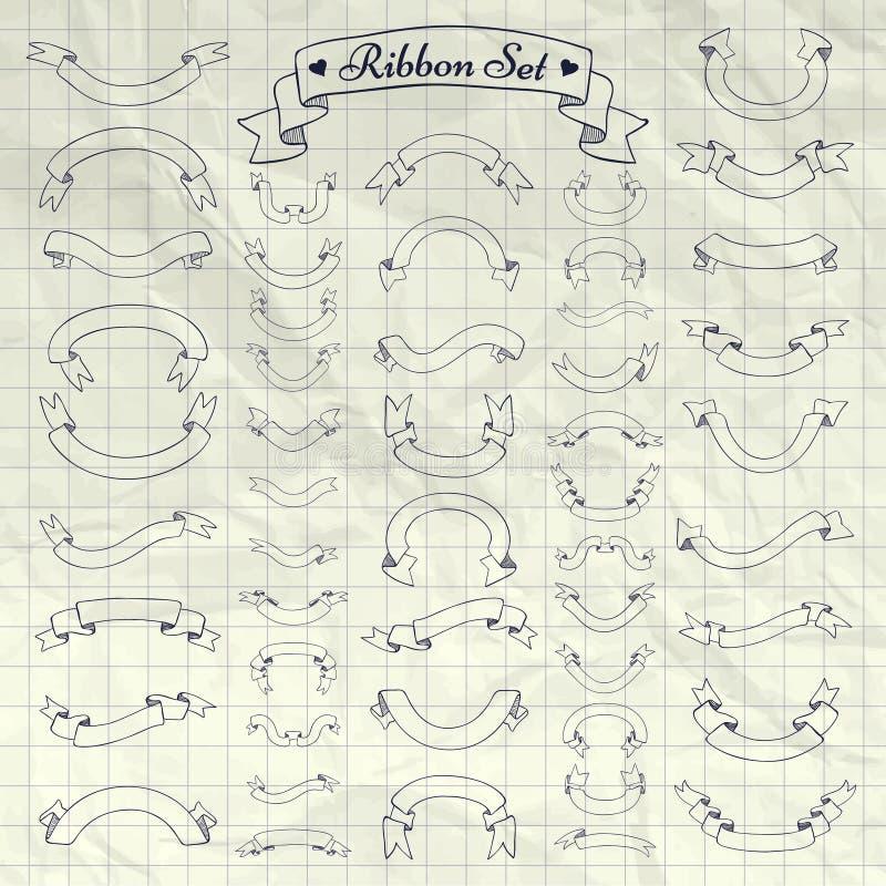 Vectorpen drawing ribbons, Banners op Notitieboekjetextuur royalty-vrije illustratie