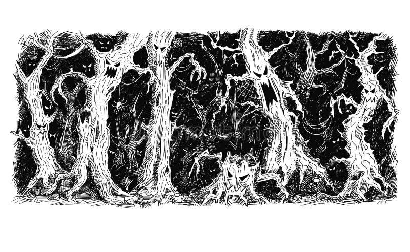 Vectorpen en Inkthandtekening van Donker Magisch en Eng Bos stock illustratie