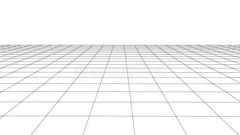 Vectorperspectiefnet met gedetailleerde lijnen vector illustratie