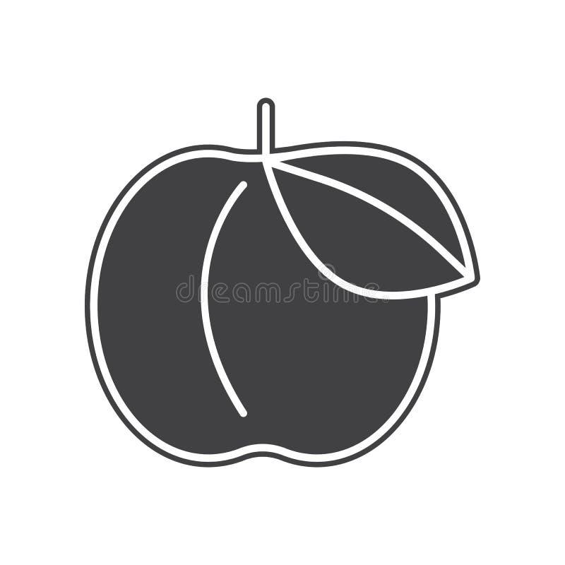 Vectorperzikpictogram Element van Vruchten en vegatables voor mobiel concept en webtoepassingenpictogram Glyph, vlak pictogram vo stock illustratie