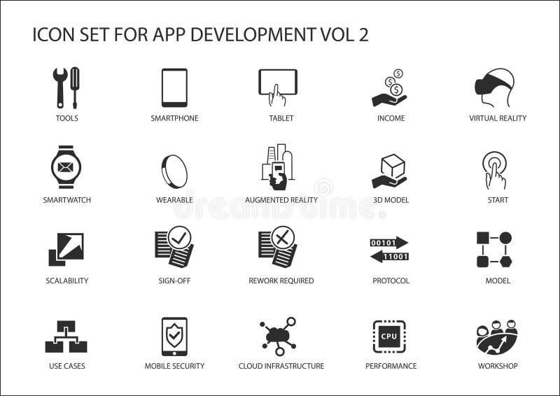Vectorpictogram dat voor app/toepassingsontwikkeling wordt geplaatst Opnieuw te gebruiken pictogrammen en symbolen royalty-vrije illustratie