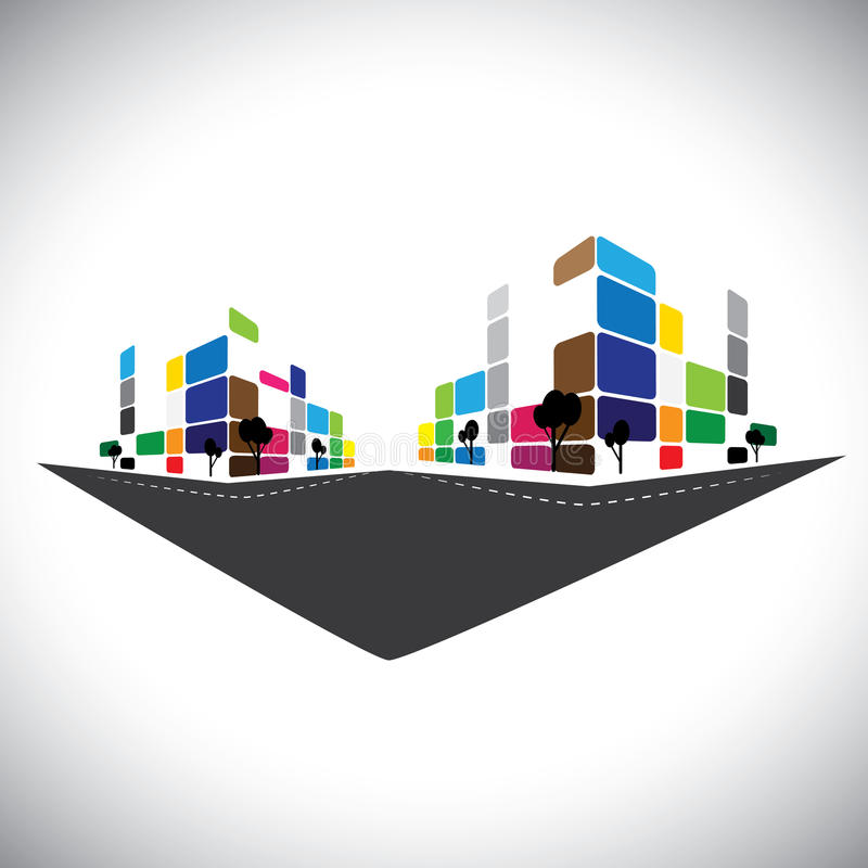 Vectorpictogram - de bouw van huisflat of supermarkt of offi vector illustratie