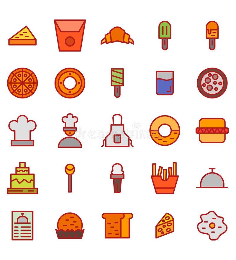 Vectorpictogram of de illustratie van de voedsel het vlakke kleur o stock illustratie