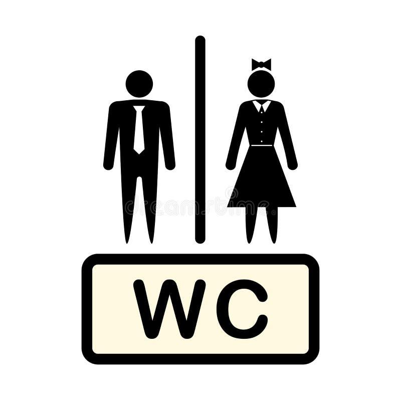 Vectorpictogram die de mens en vrouw, symbool aanduiden Concept Badkamers WC, toilet Illustratie op een lichte achtergrond wordt  stock illustratie