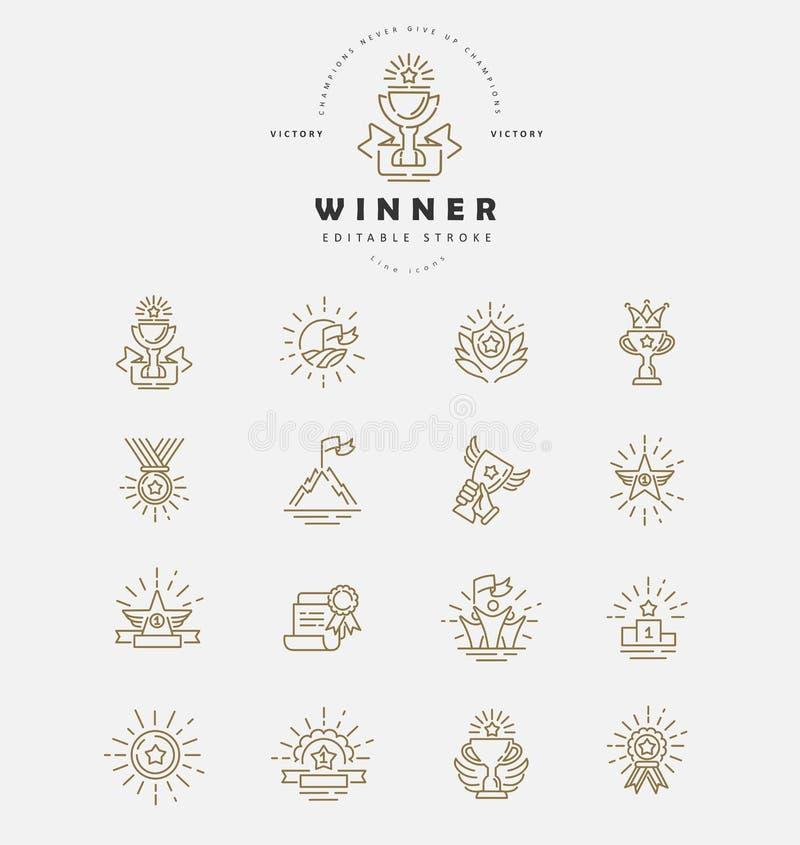 Vectorpictogram en embleemwinnaar en kampioen De slag van het Editableoverzicht vector illustratie
