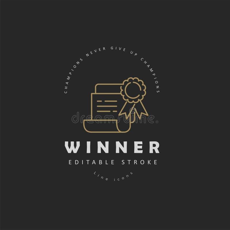 Vectorpictogram en embleemwinnaar en kampioen De slag van het Editableoverzicht royalty-vrije illustratie