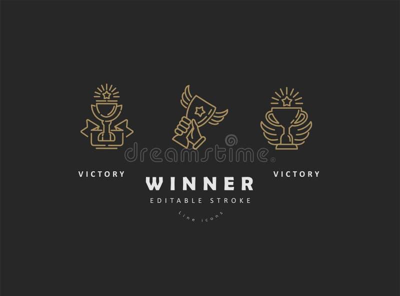 Vectorpictogram en embleemwinnaar en kampioen De slag van het Editableoverzicht stock illustratie