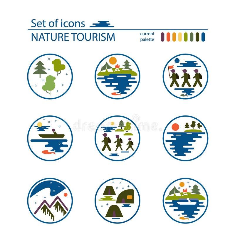 Vectorpictogram, het vlakke ontwerp van de kunststijl De groep toeristen, het kamperen, tenten, steekt Vectorbeeld in brand stock illustratie