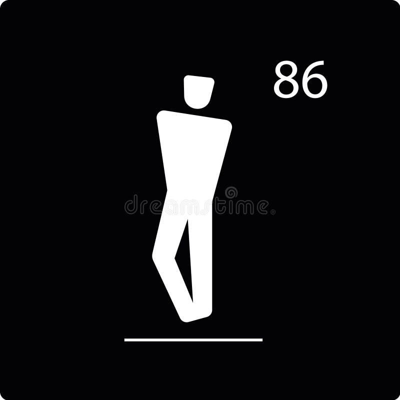 Vectorpictogram van aantalplaats om zich te bevinden, wit silhouet royalty-vrije stock foto