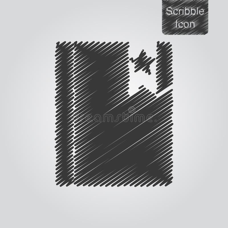 Vectorpictogram van blocnote met referentie in gekrabbelstijl royalty-vrije illustratie