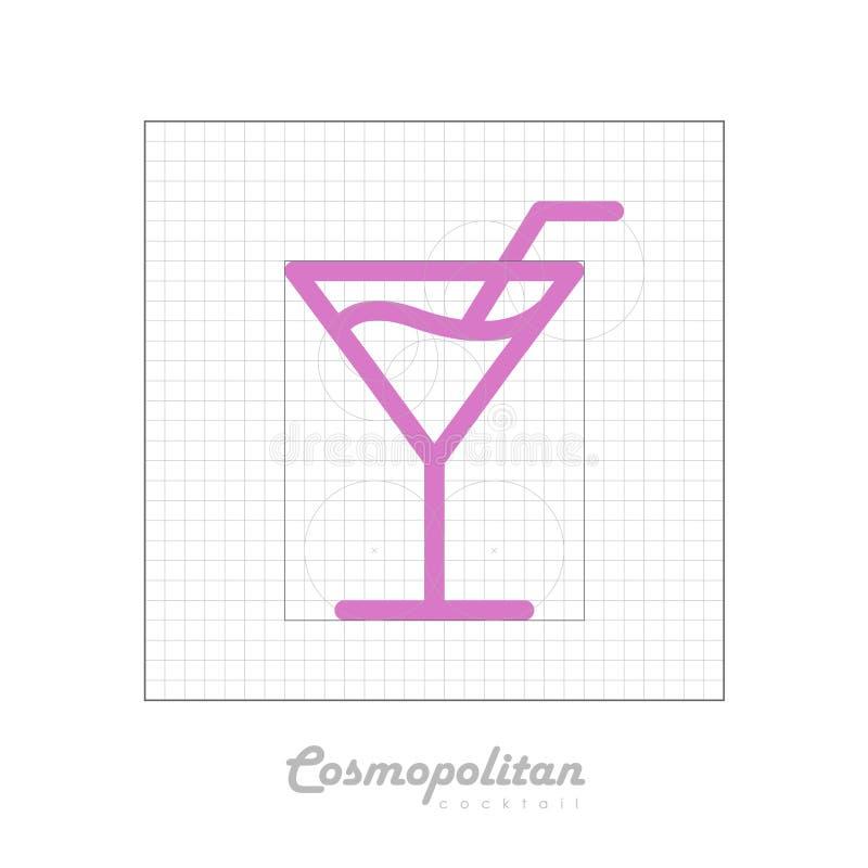 Vectorpictogram van cocktail kosmopolitisch met modulair net vector illustratie