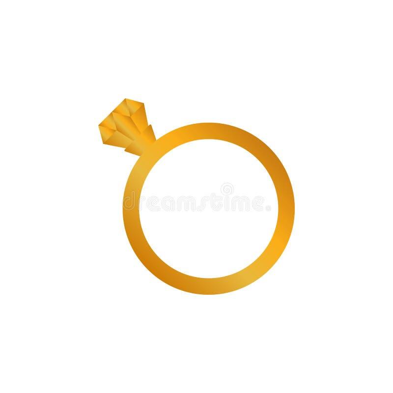 Vectorpictogram van de diamant het gouden verlovingsring royalty-vrije illustratie
