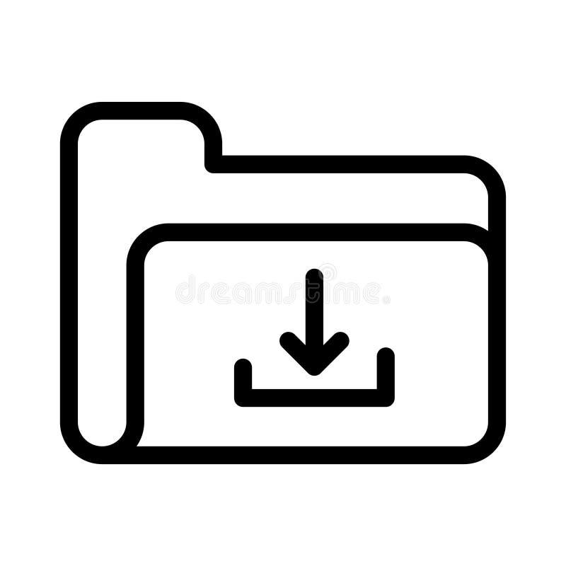 Vectorpictogram van de download het dunne lijn vector illustratie