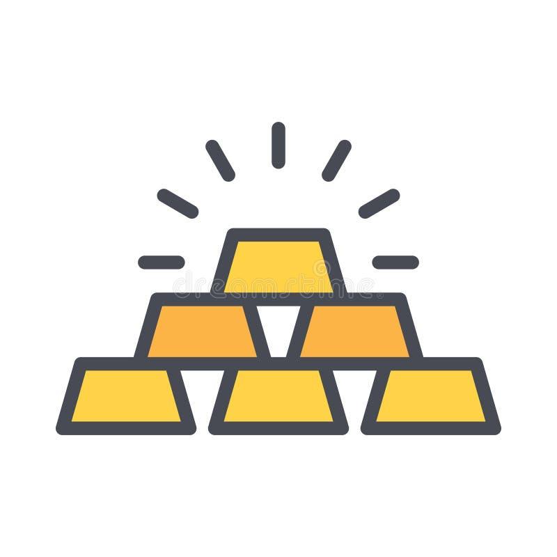 Vectorpictogram van de gouden balk eenvoudige overzicht gevulde elementenillustratie van bedrijfsconcept bewerkbare vector stock illustratie
