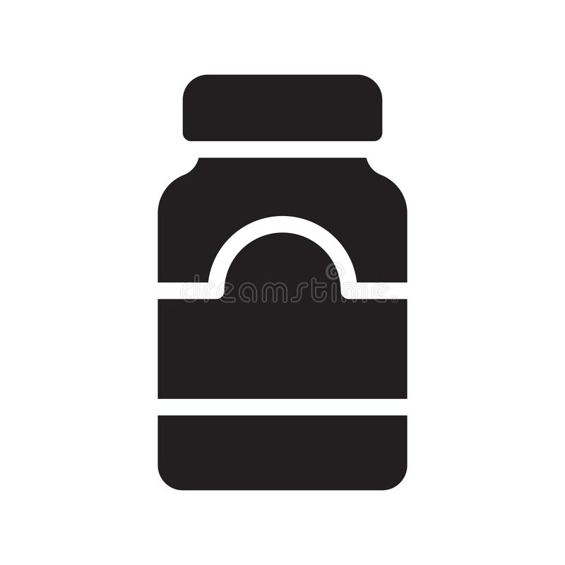 Vectorpictogram van de honingskruik glyph het vlak stock illustratie