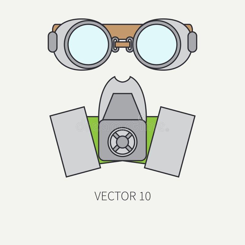Vectorpictogram van de lijn het vlakke kleur van tekeningsinstrumenten voor aerography - ademhalingsapparaat, beschermende brille royalty-vrije illustratie