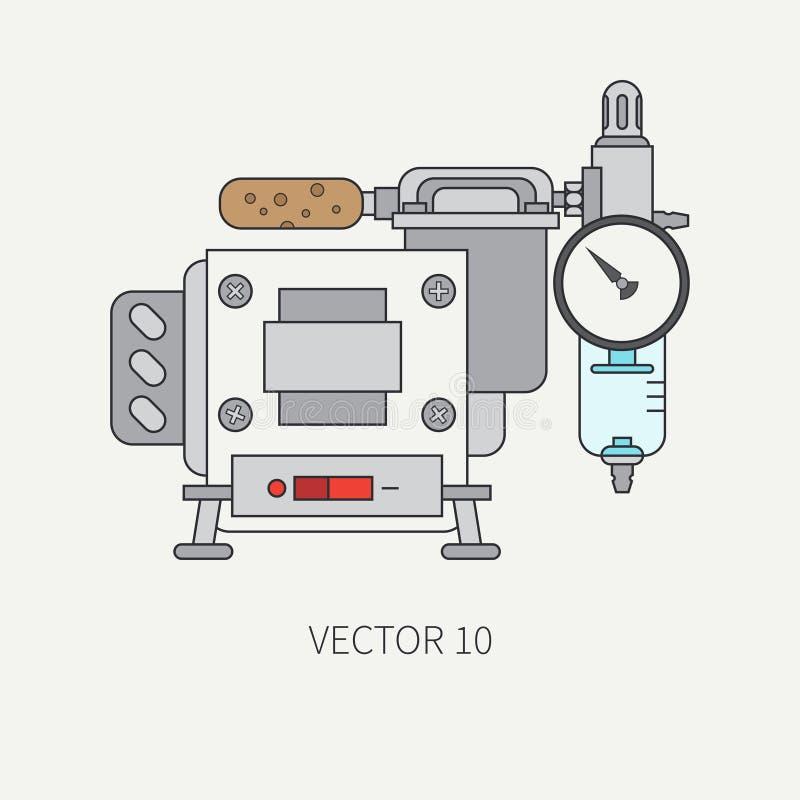 Vectorpictogram van de lijn het vlakke kleur van tekeningsinstrumenten voor aerography - luchtcompressor De stijl van het beeldve vector illustratie